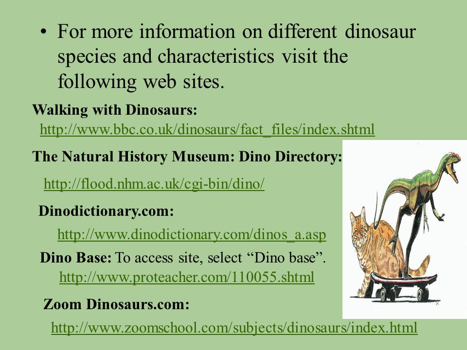 For more information on different dinosaur species and characteristics visit the following web sites.