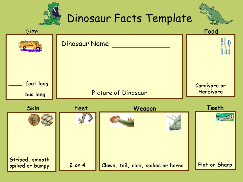 Dinosaur Facts Template Food Teeth Size Skin Weapon s Picture of Dinosaur ____ feet long ____ bus long Claws, tail, club, spikes or horns Flat or Sharp Carnivore or Herbivore Striped, smooth spiked or bumpy 2 or 4 Feet Dinosaur Name : _________________