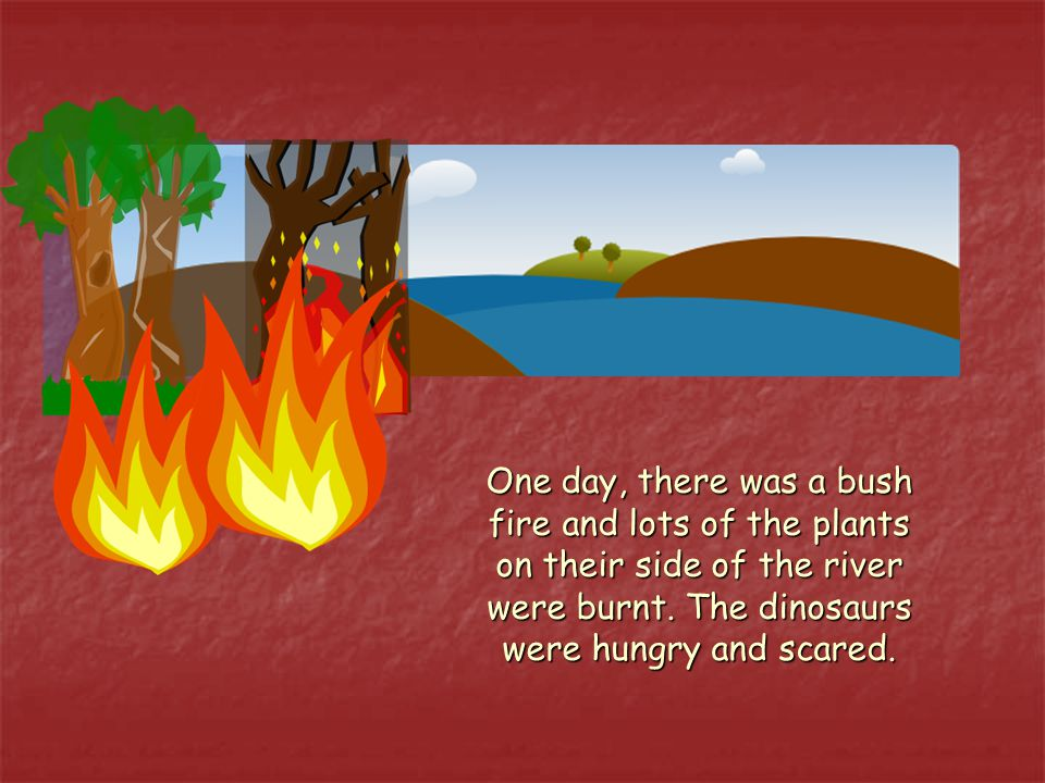 One day, there was a bush fire and lots of the plants on their side of the river were burnt.