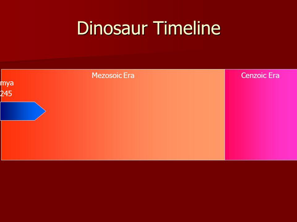 Mezosoic EraCenzoic Era Dinosaur Timeline 245 mya