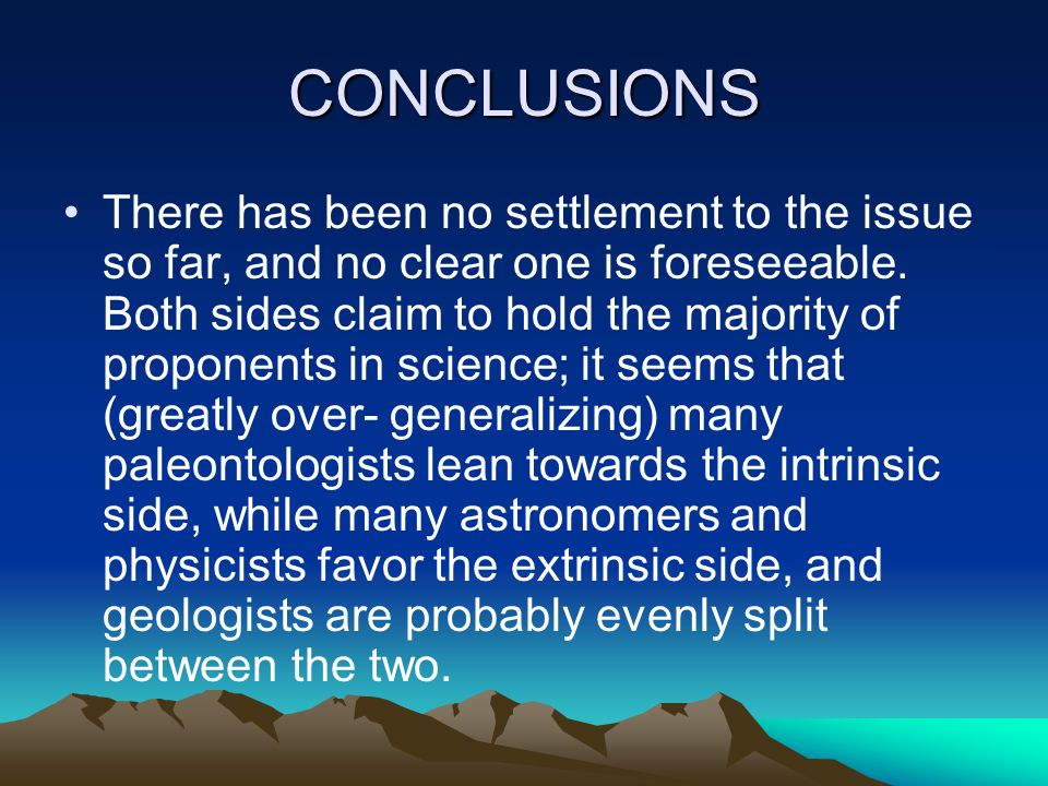 CONCLUSIONS There has been no settlement to the issue so far, and no clear one is foreseeable. Both sides claim to hold the majority of proponents in