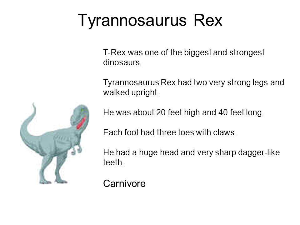 Tyrannosaurus Rex T-Rex was one of the biggest and strongest dinosaurs. Tyrannosaurus Rex had two very strong legs and walked upright. He was about 20