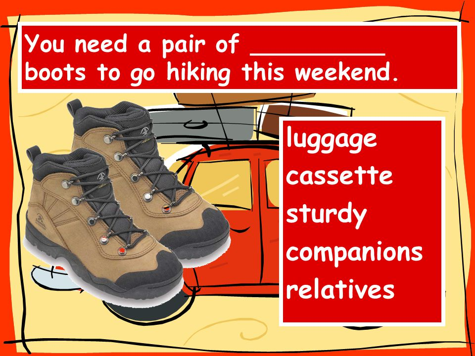 You need a pair of _________ boots to go hiking this weekend. luggage cassette sturdy companions relatives