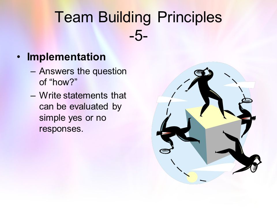 "Team Building Principles -4- Goals – ""every goal needs a plan to make it work."" –Calls for even more specific thinking. –Each objective may have multi"