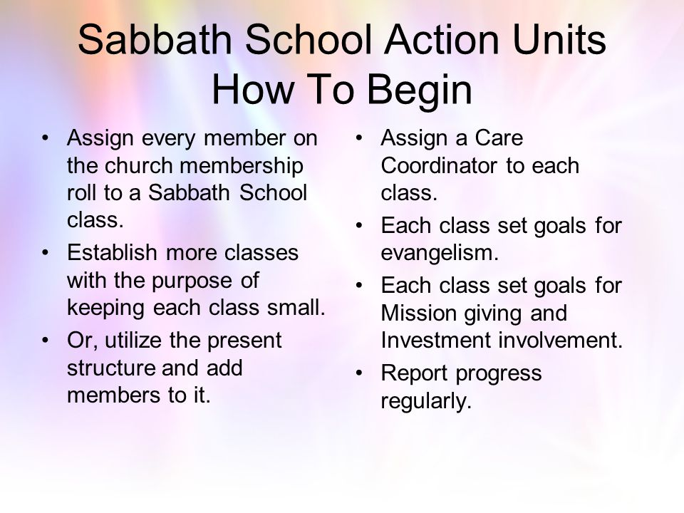Sabbath School Council Makeup Adult and Lower Division SS Supts. Pastor and/or Elder Church Ministries Dir. SS Secretary SS Teachers (upper and lower
