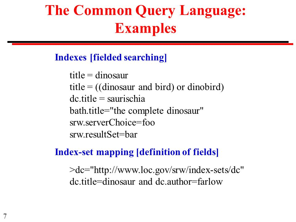 8 The Common Query Language: Examples Proximity The prox operator: prox/relation/distance/unit/ordering Examples: complete prox dinosaur[adjacent] (caudal or dorsal) prox vertebra ribs prox//5 chevrons[near 5] ribs prox//0/sentence chevrons[same sentence] ribs prox/>/0/paragraph chevrons[not adjacent]