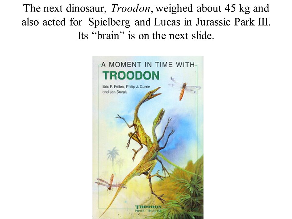 The next dinosaur, Troodon, weighed about 45 kg and also acted for Spielberg and Lucas in Jurassic Park III.
