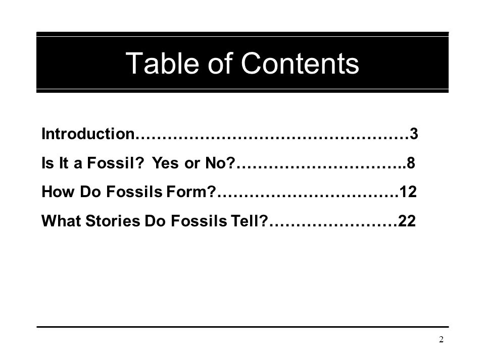 2 Table of Contents Introduction……………………………………………3 Is It a Fossil? Yes or No?…………………………..8 How Do Fossils Form?…………………………….12 What Stories Do Fossils