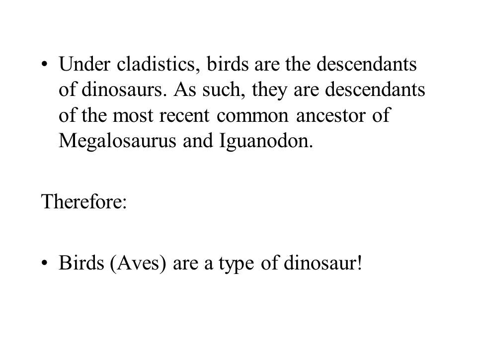 Under cladistics, birds are the descendants of dinosaurs. As such, they are descendants of the most recent common ancestor of Megalosaurus and Iguanod