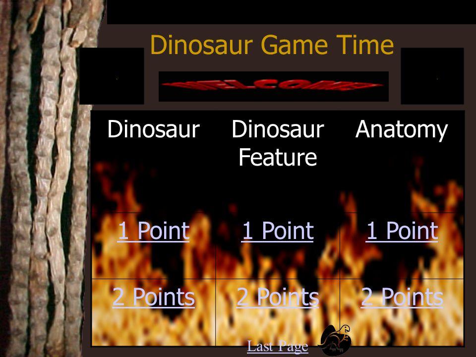 Dinosaur Game Time DinosaurDinosaur Feature Anatomy 1 Point 2 Points Last Page