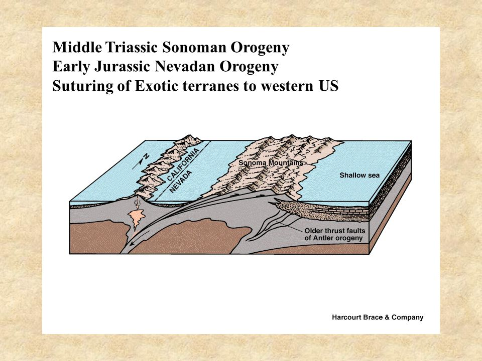 Middle Triassic Sonoman Orogeny Early Jurassic Nevadan Orogeny Suturing of Exotic terranes to western US