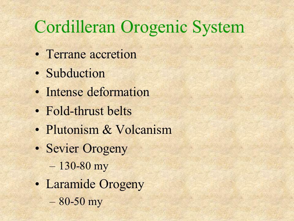 Cordilleran Orogenic System Terrane accretion Subduction Intense deformation Fold-thrust belts Plutonism & Volcanism Sevier Orogeny –130-80 my Laramide Orogeny –80-50 my