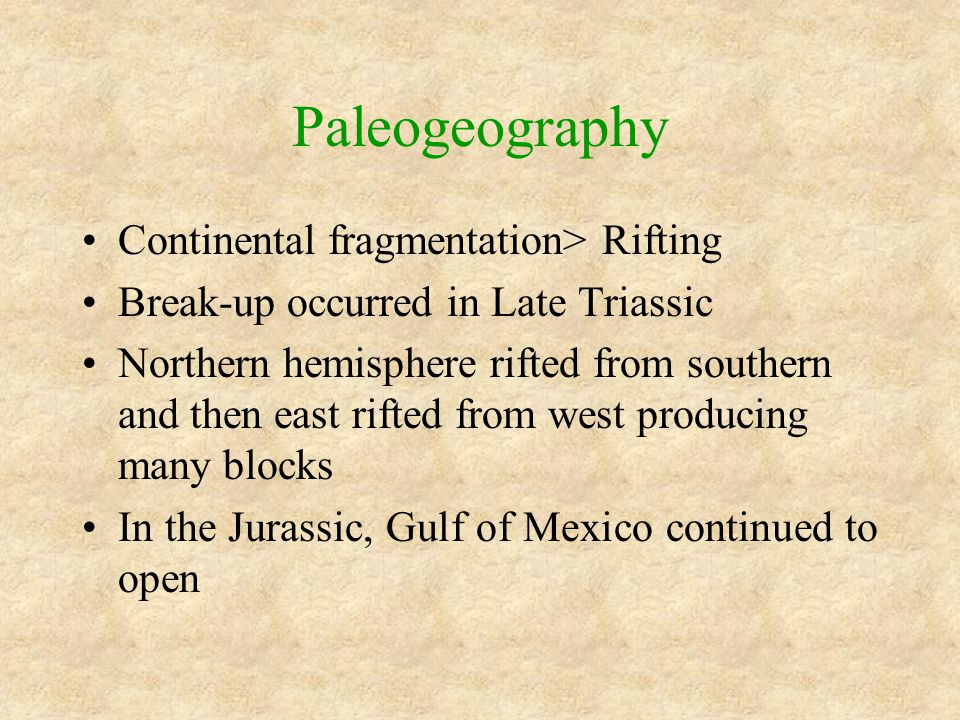 Paleogeography Continental fragmentation> Rifting Break-up occurred in Late Triassic Northern hemisphere rifted from southern and then east rifted fro