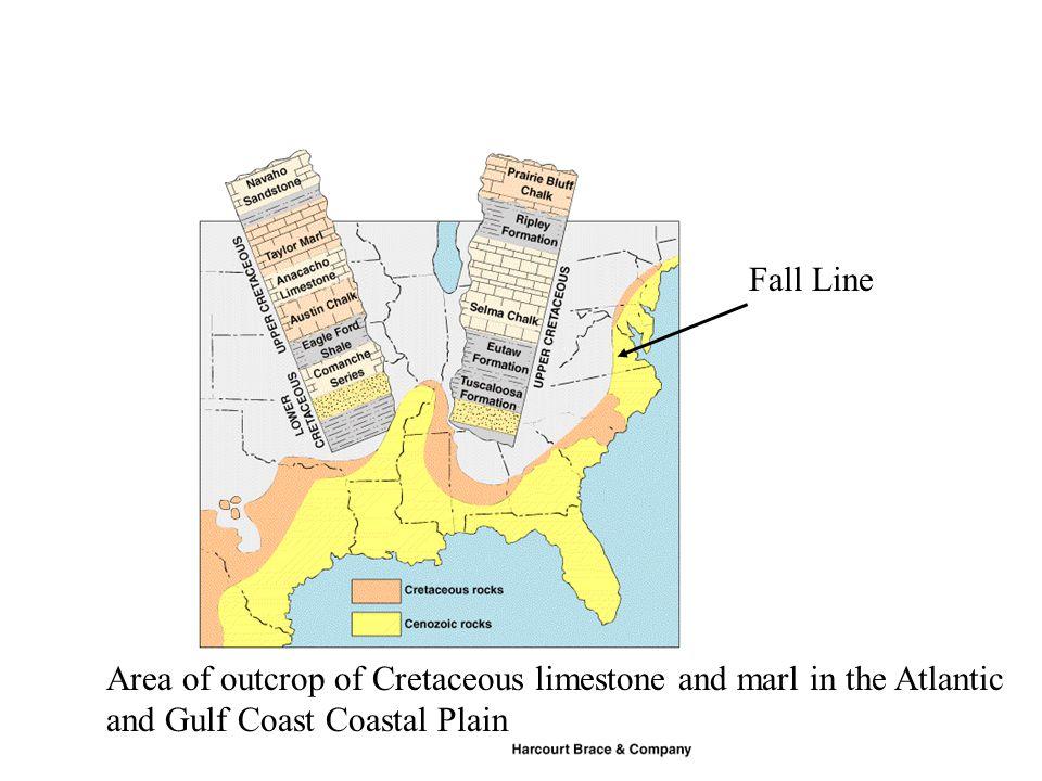 Area of outcrop of Cretaceous limestone and marl in the Atlantic and Gulf Coast Coastal Plain Fall Line