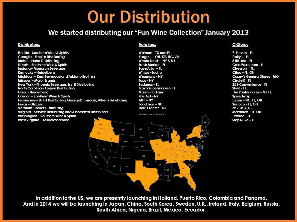 Our Distribution Distributors: Florida – Southern Wine & Spirits Georgia – Empire Distributing Idaho – Idaho Distributing Illinois – Southern Wine & S