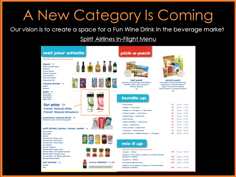A New Category Is Coming Our vision is to create a space for a Fun Wine Drink in the beverage market Spirit Airlines In-Flight Menu