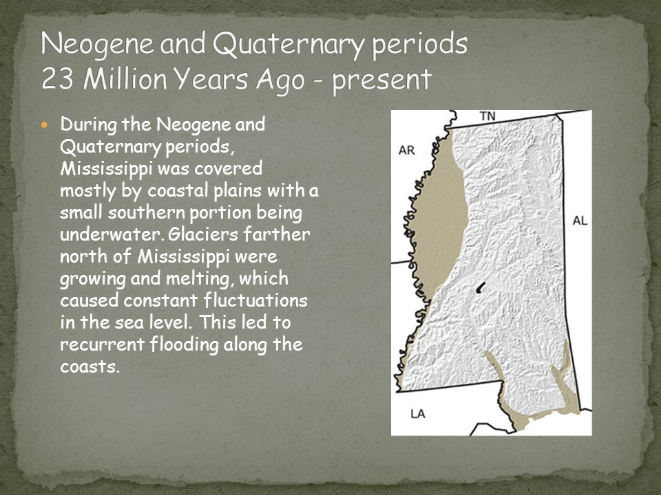 During the Neogene and Quaternary periods, Mississippi was covered mostly by coastal plains with a small southern portion being underwater. Glaciers f