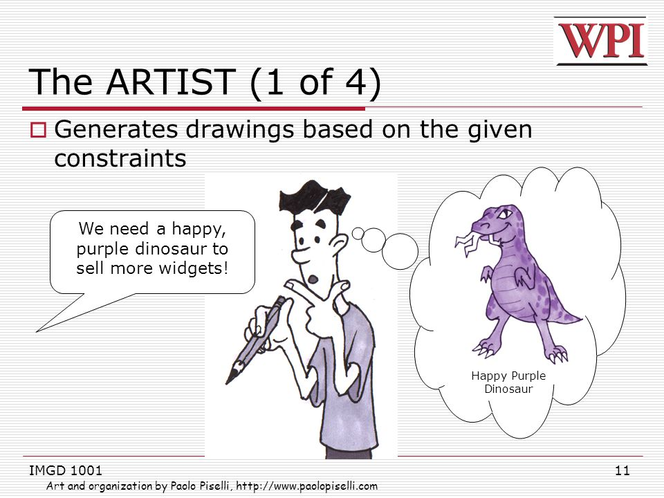 IMGD 100111 The ARTIST (1 of 4)  Generates drawings based on the given constraints We need a happy, purple dinosaur to sell more widgets.