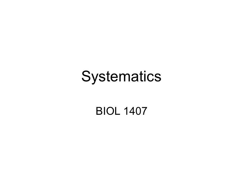 Systematics BIOL 1407