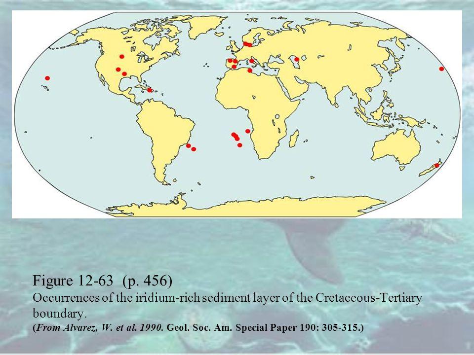 Figure 12-63 (p. 456) Occurrences of the iridium-rich sediment layer of the Cretaceous-Tertiary boundary. (From Alvarez, W. et al. 1990. Geol. Soc. Am