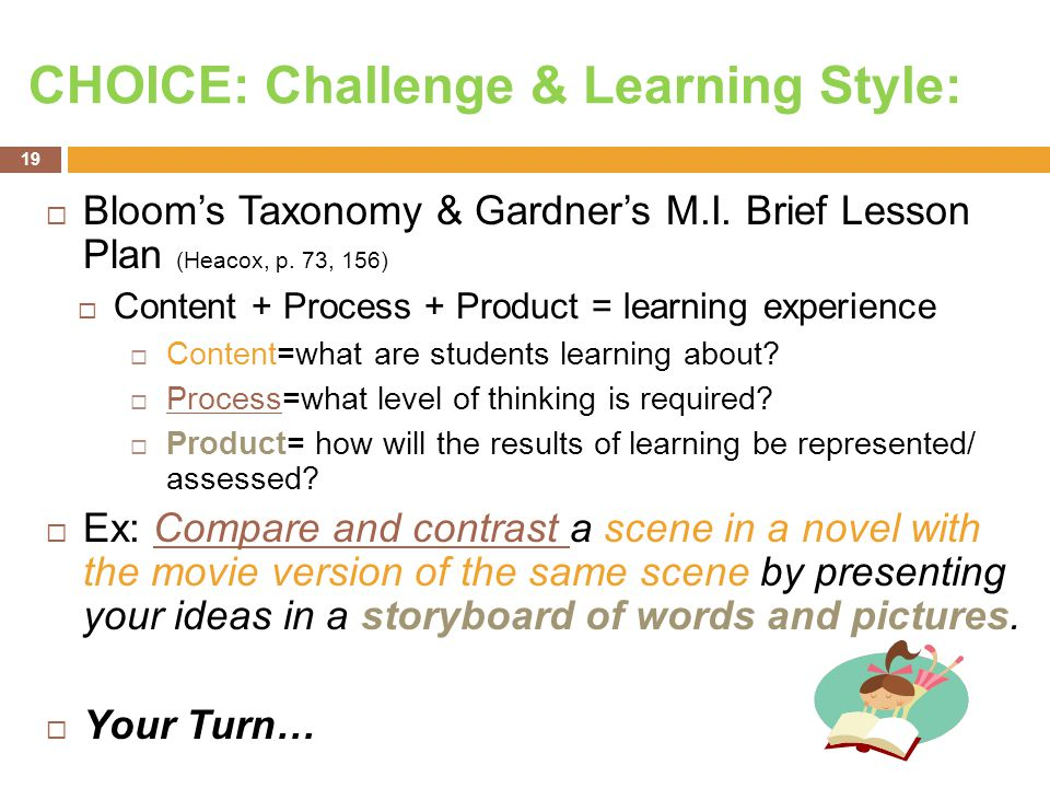 CHOICE: Challenge & Learning Style:  Bloom's Taxonomy & Gardner's M.I. Brief Lesson Plan (Heacox, p. 73, 156)  Content + Process + Product = learnin