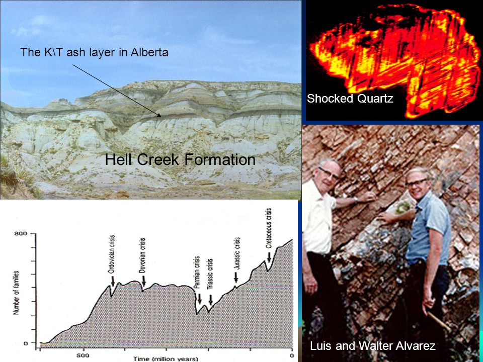 Luis and Walter Alvarez The K\T ash layer in Alberta Shocked Quartz Hell Creek Formation