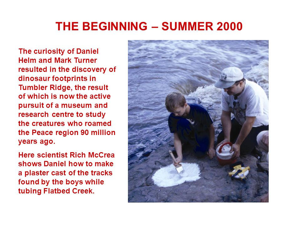 The curiosity of Daniel Helm and Mark Turner resulted in the discovery of dinosaur footprints in Tumbler Ridge, the result of which is now the active pursuit of a museum and research centre to study the creatures who roamed the Peace region 90 million years ago.