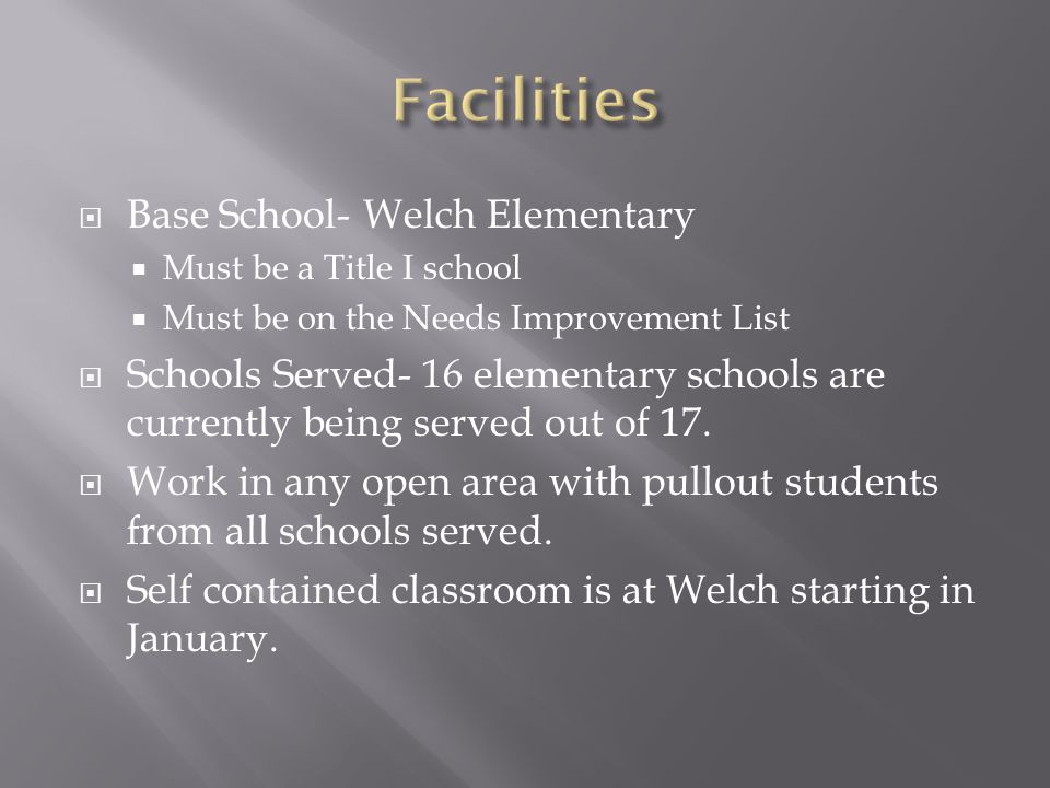  Base School- Welch Elementary  Must be a Title I school  Must be on the Needs Improvement List  Schools Served- 16 elementary schools are currently being served out of 17.