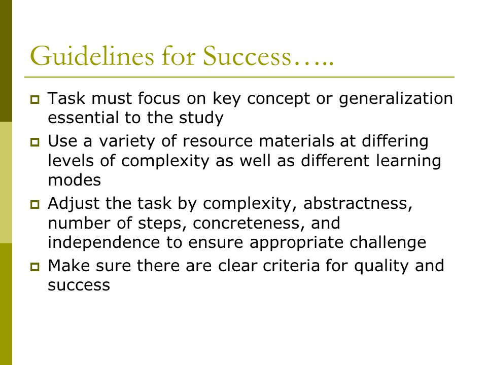 Guidelines for Success…..
