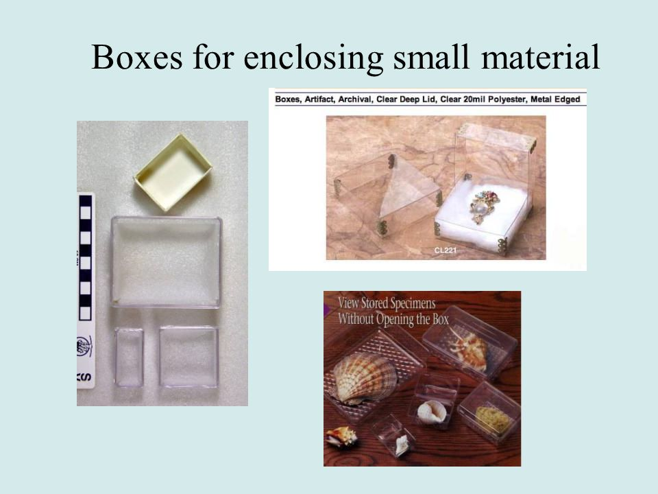 Boxes for enclosing small material