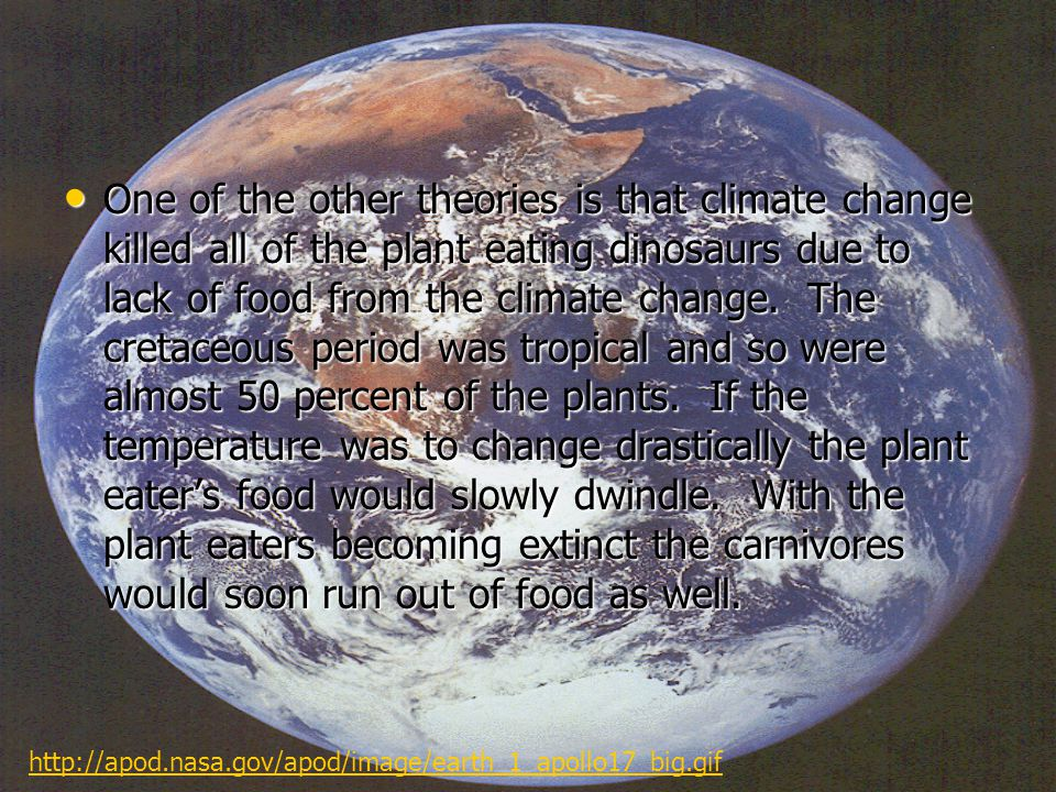 One of the other theories is that climate change killed all of the plant eating dinosaurs due to lack of food from the climate change.