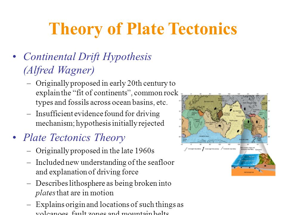 Theory of Plate Tectonics Continental Drift Hypothesis (Alfred Wagner) –Originally proposed in early 20th century to explain the fit of continents , common rock types and fossils across ocean basins, etc.
