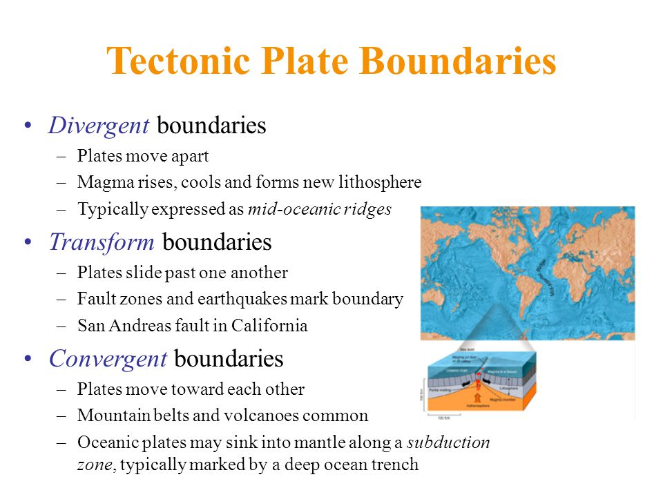 Tectonic Plate Boundaries Divergent boundaries –Plates move apart –Magma rises, cools and forms new lithosphere –Typically expressed as mid-oceanic ridges Transform boundaries –Plates slide past one another –Fault zones and earthquakes mark boundary –San Andreas fault in California Convergent boundaries –Plates move toward each other –Mountain belts and volcanoes common –Oceanic plates may sink into mantle along a subduction zone, typically marked by a deep ocean trench