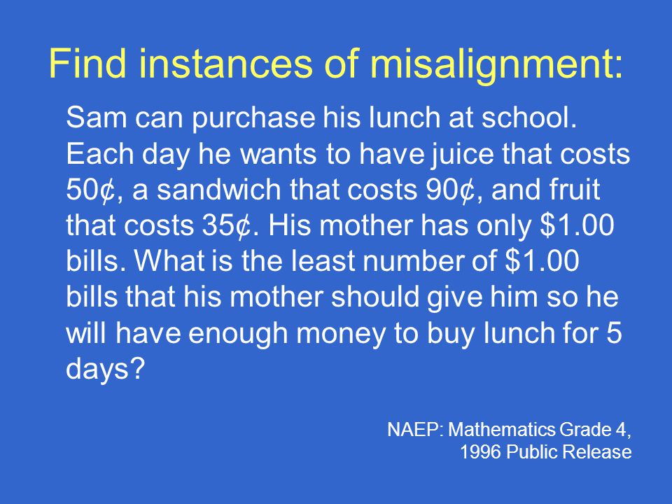 Find instances of misalignment: Sam can purchase his lunch at school.