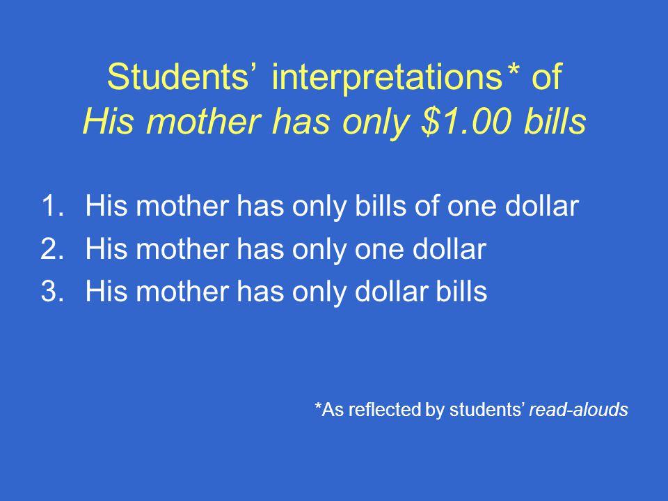 Students' interpretations* of His mother has only $1.00 bills 1.His mother has only bills of one dollar 2.His mother has only one dollar 3.His mother has only dollar bills *As reflected by students' read-alouds