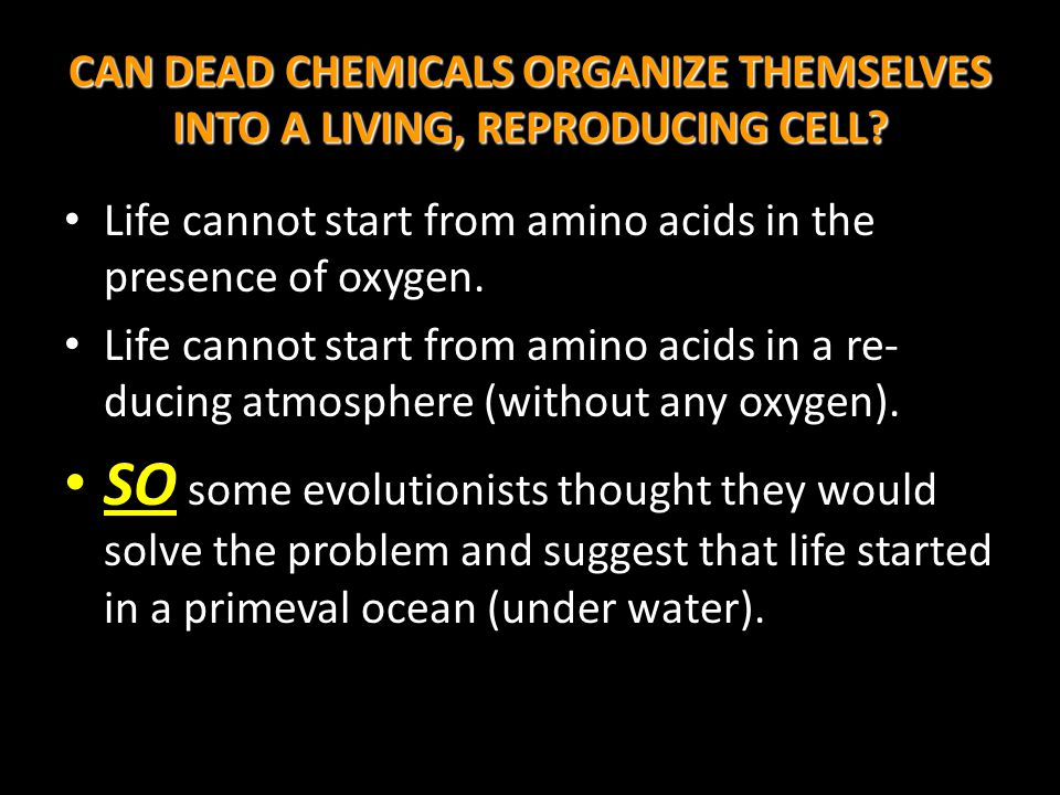 CAN DEAD CHEMICALS ORGANIZE THEMSELVES INTO A LIVING, REPRODUCING CELL? Life cannot start from amino acids in the presence of oxygen. Life cannot star