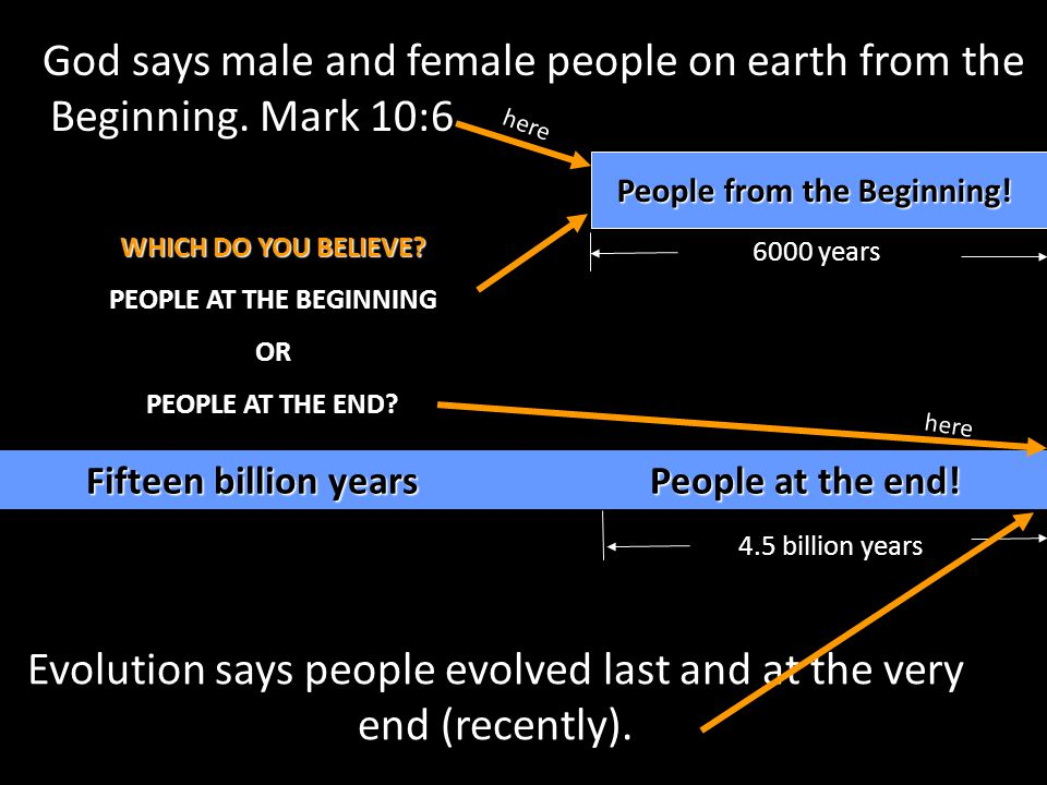 God says male and female people on earth from the Beginning. Mark 10:6 People from the Beginning! Evolution says people evolved last and at the very e