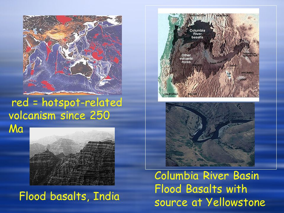 red = hotspot-related volcanism since 250 Ma Columbia River Basin Flood Basalts with source at Yellowstone Flood basalts, India
