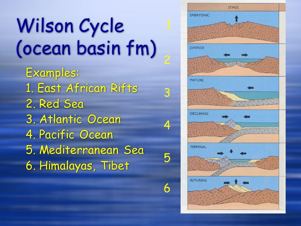Wilson Cycle (ocean basin fm) Examples: 1. East African Rifts 2. Red Sea 3. Atlantic Ocean 4. Pacific Ocean 5. Mediterranean Sea 6. Himalayas, Tibet E