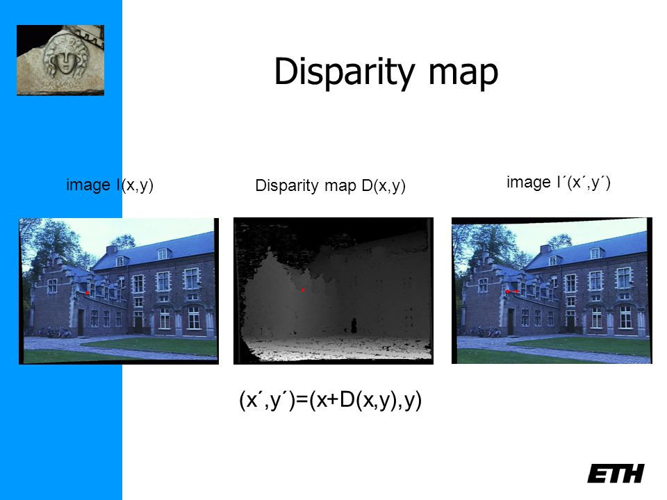 Disparity map image I(x,y) image I´(x´,y´) Disparity map D(x,y) (x´,y´)=(x+D(x,y),y)