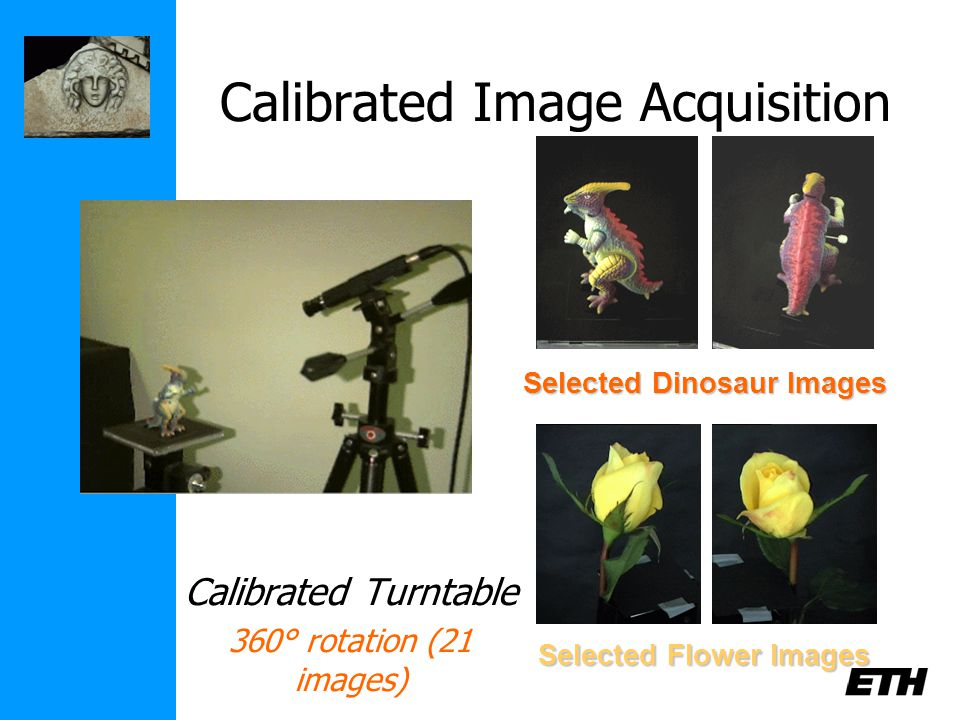 Calibrated Image Acquisition Calibrated Turntable 360° rotation (21 images) Selected Dinosaur Images Selected Flower Images