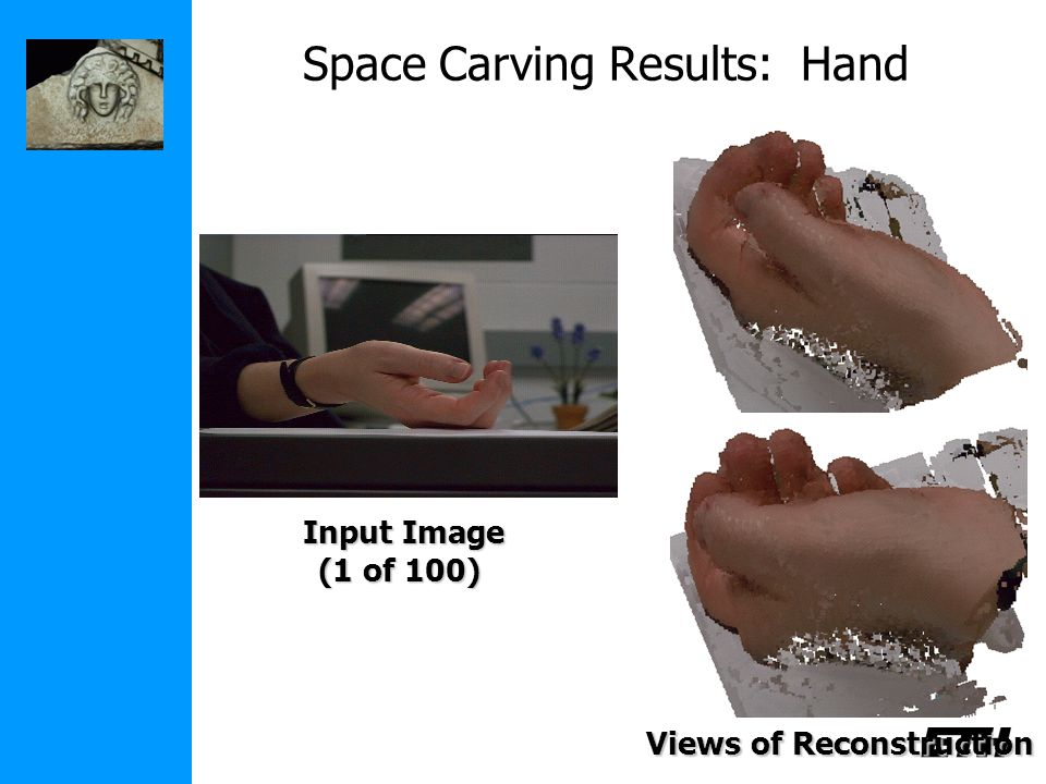 Space Carving Results: Hand Input Image (1 of 100) Views of Reconstruction