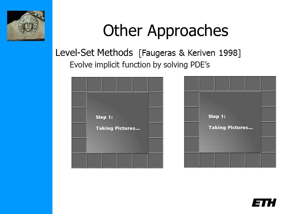 Other Approaches Level-Set Methods [Faugeras & Keriven 1998] Evolve implicit function by solving PDE's