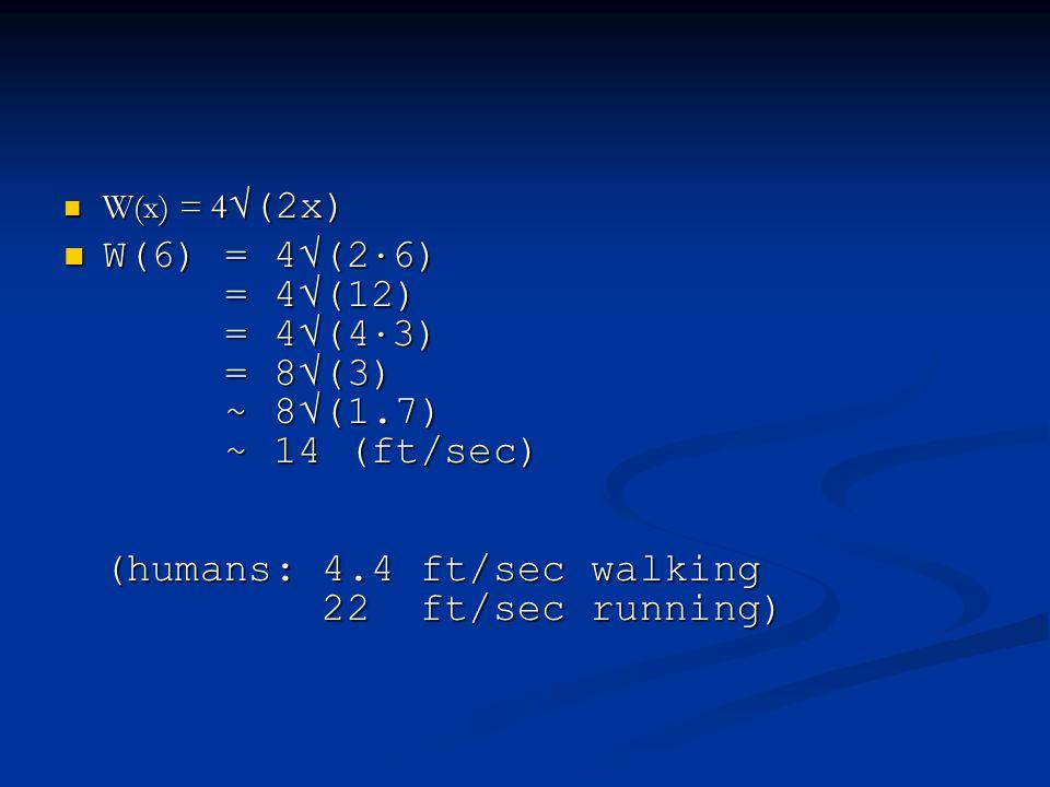 W(x) = 4 √(2x) W(x) = 4 √(2x) W(6) = 4√(2 · 6) = 4√(12) = 4√(4 · 3) = 8√(3) ~ 8√(1.7) ~ 14 (ft/sec) (humans: 4.4 ft/sec walking 22 ft/sec running) W(6) = 4√(2 · 6) = 4√(12) = 4√(4 · 3) = 8√(3) ~ 8√(1.7) ~ 14 (ft/sec) (humans: 4.4 ft/sec walking 22 ft/sec running)