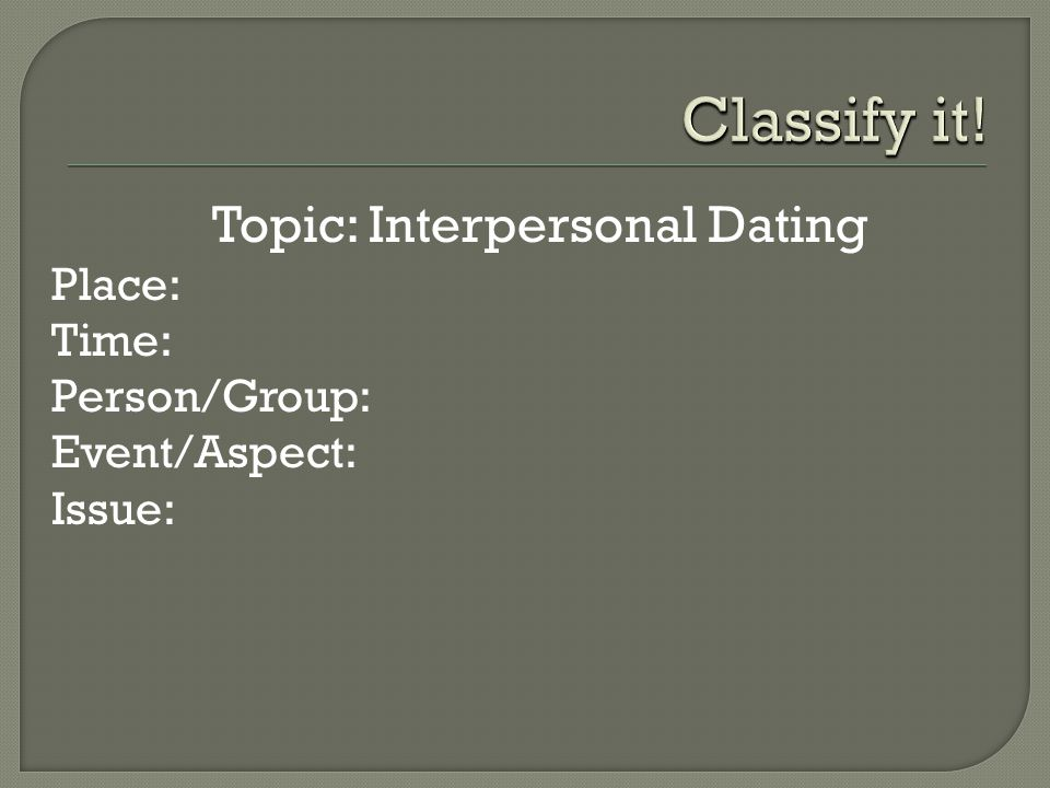  Topic: Interpersonal Dating  Place:  Time:  Person/Group:  Event/Aspect:  Issue: