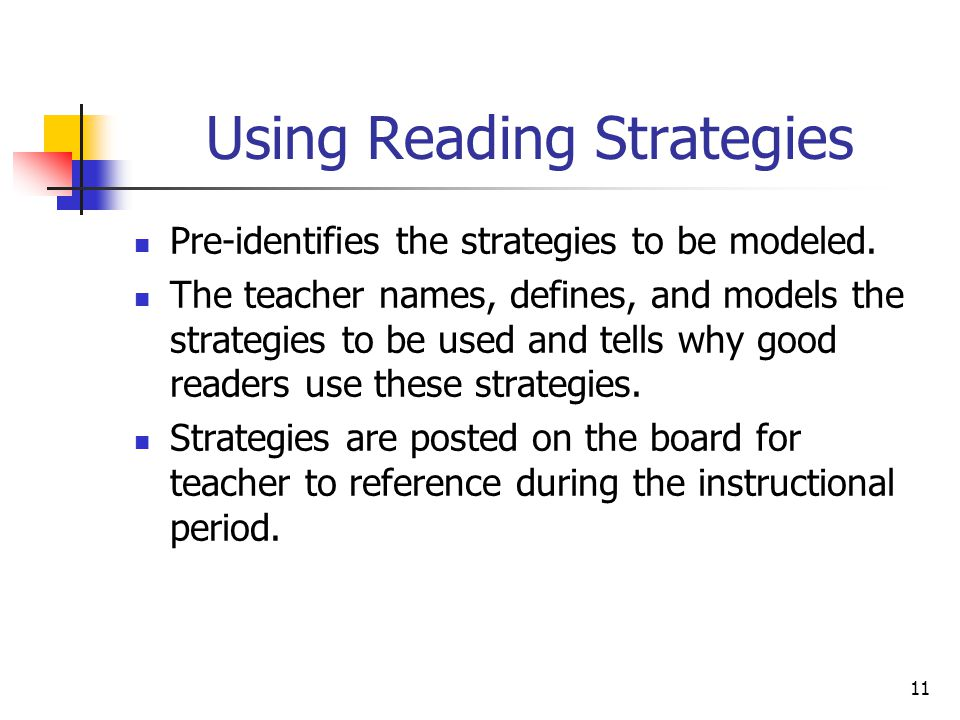 11 Using Reading Strategies Pre-identifies the strategies to be modeled.