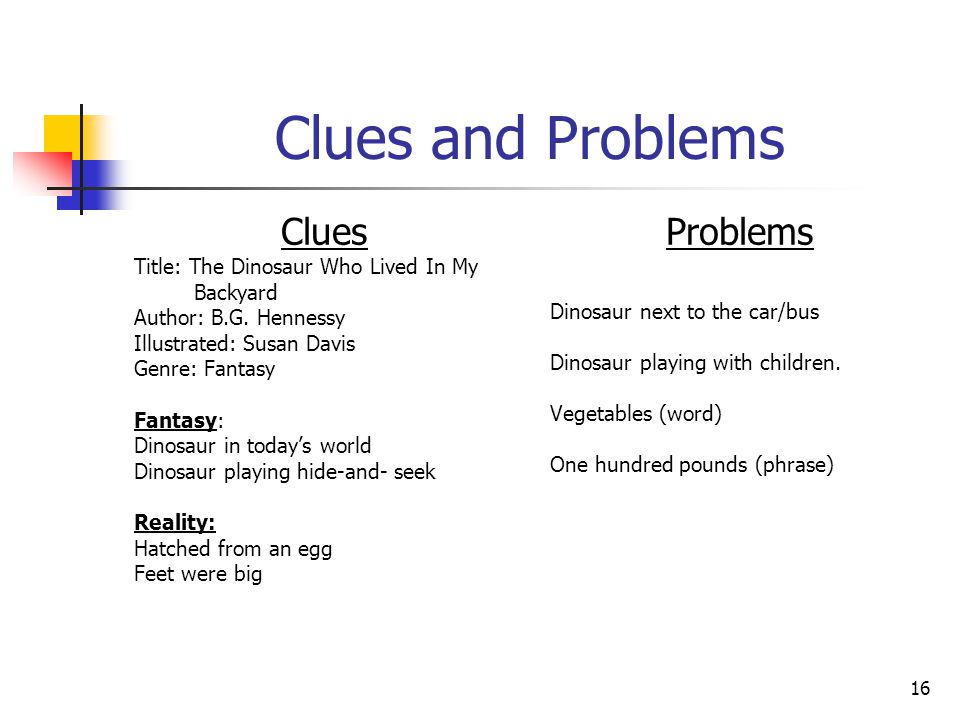 16 Clues and Problems Clues Title: The Dinosaur Who Lived In My Backyard Author: B.G.