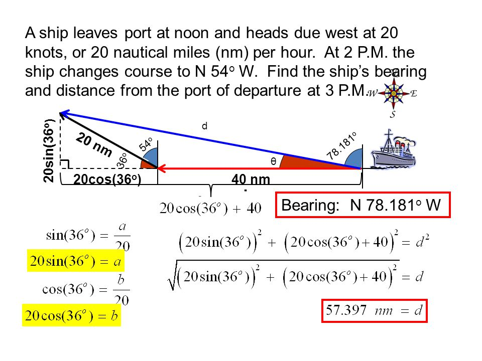 A ship leaves port at noon and heads due west at 20 knots, or 20 nautical miles (nm) per hour. At 2 P.M. the ship changes course to N 54 o W. Find the