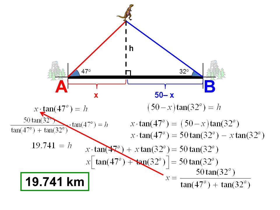 AB 47 o 32 o x50– x h 19.741 km