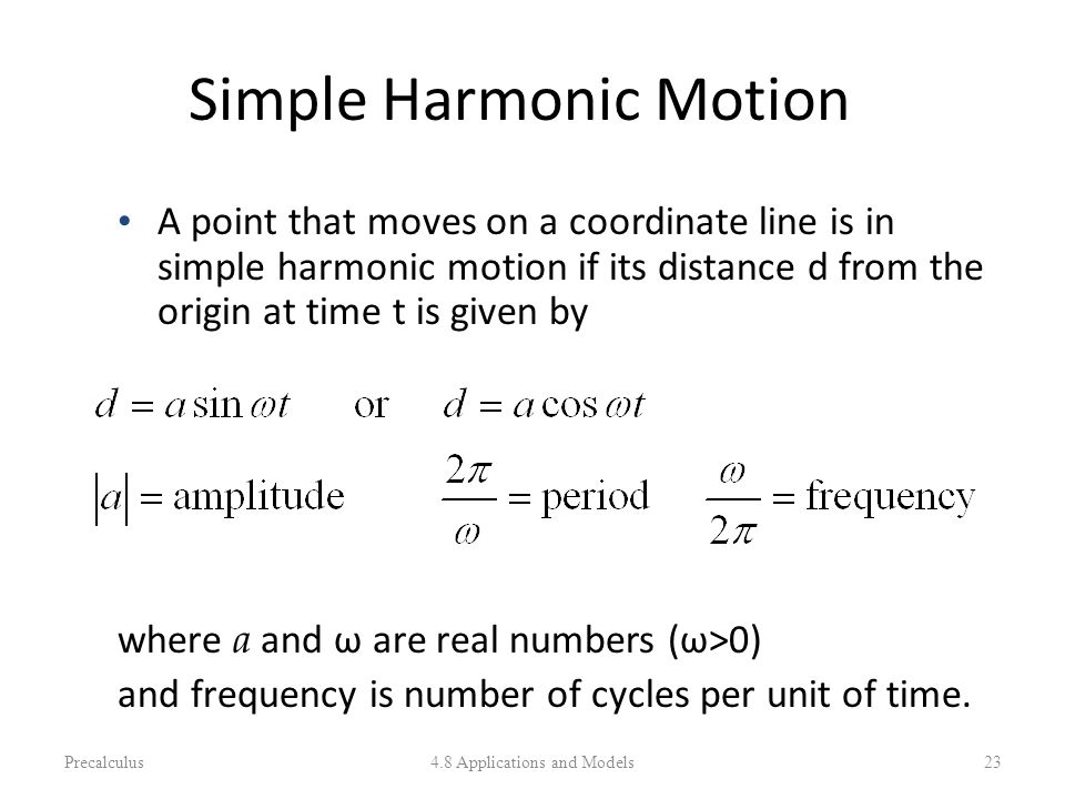 Simple Harmonic Motion A point that moves on a coordinate line is in simple harmonic motion if its distance d from the origin at time t is given by wh